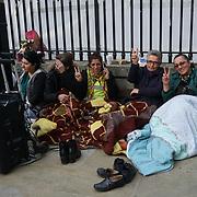 Downing street,London,England,UK.13th April 2017. Eight's Kurdish women and Eight's men on the third days Hunger Strike solidarity of Kurdishs politician hunger strike in Turkey opposite Downing street,London,UK. by See Li