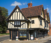 Historic timber framed Tudor style building now an estate agents office, Ipswich, Suffolk, England