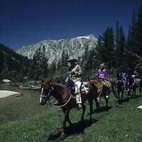 Riders in lower Second Recess, John Muir Wilderness, Sierra Nevada, CA