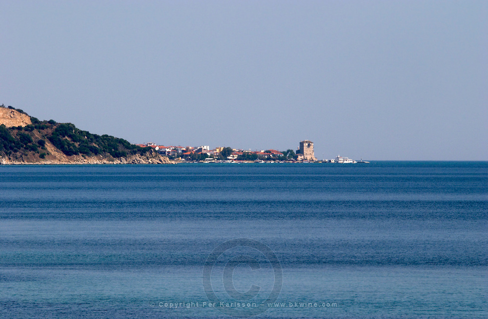 Ouranopolis with its tower on the Mount Athos peninsula. Greece.