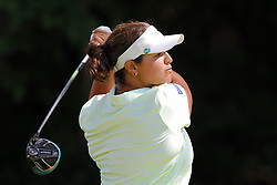 June 14, 2018 - Belmont, Michigan, United States - Maria Torres of San Juan, Puerto Rico hits from the 7th tee during the first round of the Meijer LPGA Classic golf tournament at Blythefield Country Club in Belmont, MI, USA  Thursday, June 14, 2018. (Credit Image: © Amy Lemus/NurPhoto via ZUMA Press)