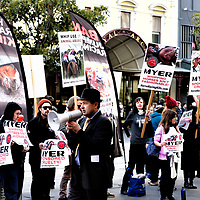 Ban The Whips rally - Saturday July 18 2015 - at Myer Melbourne Bourke Street Melbourne. The rally was organised by The Coalition for the Protection of Racehorses (CPR). Myer are major sponsors of Horseracing in Melbourne Australia.