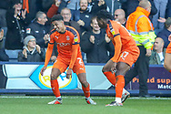 Goal Luton Town defender James Justin (2) scores a goal and celebrates during the EFL Sky Bet League 1 match between Luton Town and Plymouth Argyle at Kenilworth Road, Luton, England on 17 November 2018.