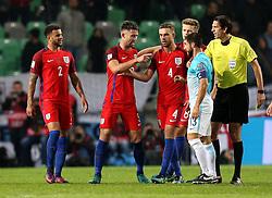 Gary Cahill of England argues with Bojan Jokic of Slovenia - Mandatory by-line: Robbie Stephenson/JMP - 11/10/2016 - FOOTBALL - RSC Stozice - Ljubljana, England - Slovenia v England - World Cup European Qualifier