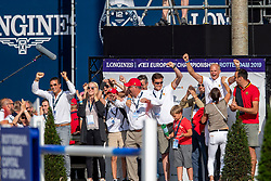 Team Belgium, Weinberg Peter, Philippaerts Olivier, Delaunay Pauline, Guery Jerome, Benoit Silvain, ... <br /> European Championship Jumping<br /> Rotterdam 2019<br /> © Hippo Foto - Stefan Lafrentz