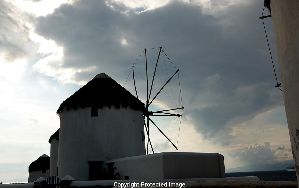 A wind mill on the island of Mykonos, Greece.  Photograph by Dennis Brack