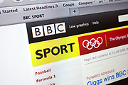 Computer screen showing the website for BBC Sport