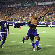 ORLANDO, FL - JUNE 18:  Julio Baptista #19 of Orlando City SC celebrates a goal during an MLS soccer match between the San Jose Earthquakes and the Orlando City SC at Camping World Stadium on June 18, 2016 in Orlando, Florida. (Photo by Alex Menendez/Getty Images) *** Local Caption *** Julio Baptista