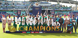 June 18, 2017 - London, United Kingdom - Pakistan Team with Trophy.during the ICC Champions Trophy Final match between India and Pakistan at The Oval in London on June 18, 2017  (Credit Image: © Kieran Galvin/NurPhoto via ZUMA Press)