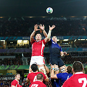 Alun Wyn Jones, Wales, challenges for at a line out with Imanol Harinordoquy, France,  during the Wales V France Semi Final match at the IRB Rugby World Cup tournament, Eden Park, Auckland, New Zealand, 15th October 2011. Photo Tim Clayton...