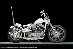 """""""Kitchenmade"""", a pearl white S&S evo chopper built by Savannah Rose in Viola, WI. Photographed by Michael Lichter in Sturgis, SD on August 3 2017. ©2017 Michael Lichter."""