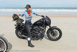 Leticia Cline riding on Daytona Beach during Daytona Bike Week 75th Anniversary event. FL, USA. Thursday March 3, 2016.  Photography ©2016 Michael Lichter.