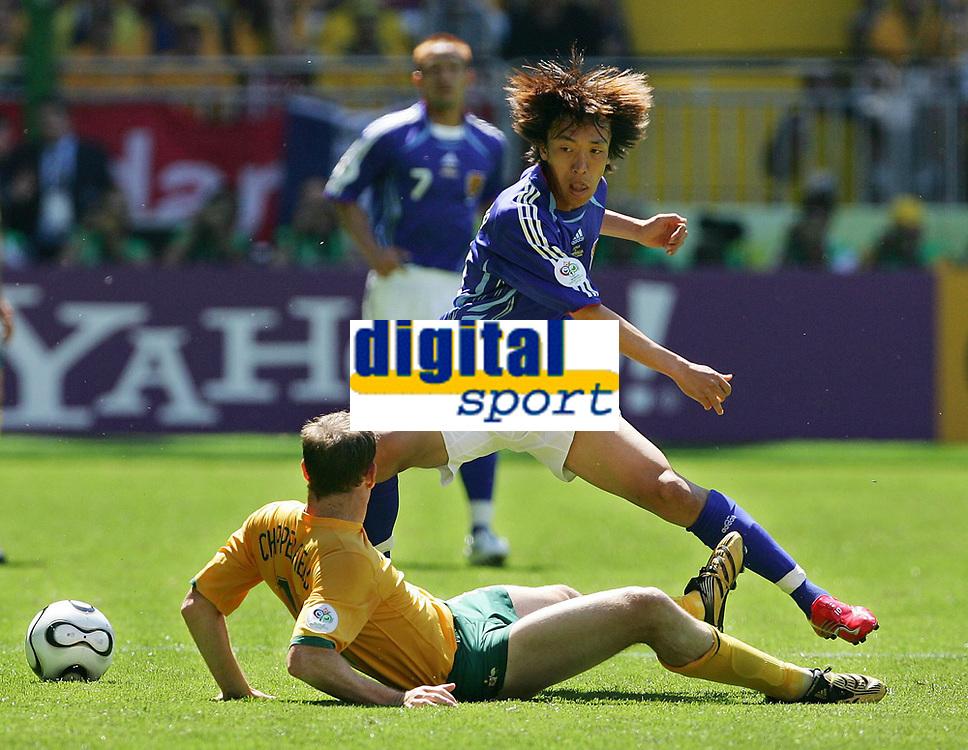 v.l. Shunsuke Nakamura, Scott Chipperfield<br /> Fussball WM 2006 Australien - Japan<br /> Australia<br /> <br /> Norway only