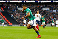 West Bromwich Albion forward Jose Salomon Rondon (9) celebrates his goal (score 0-1) during the Premier League match between Tottenham Hotspur and West Bromwich Albion at Wembley Stadium, London, England on 25 November 2017. Photo by Andy Walter.