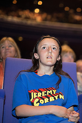 © Licensed to London News Pictures . 23/07/2016 . Salford , UK . The audience applauds as Jeremy Corbyn launches his campaign to be re-elected Labour Party leader , at the Lowry Theatre at Salford Quays . Photo credit : Joel Goodman/LNP