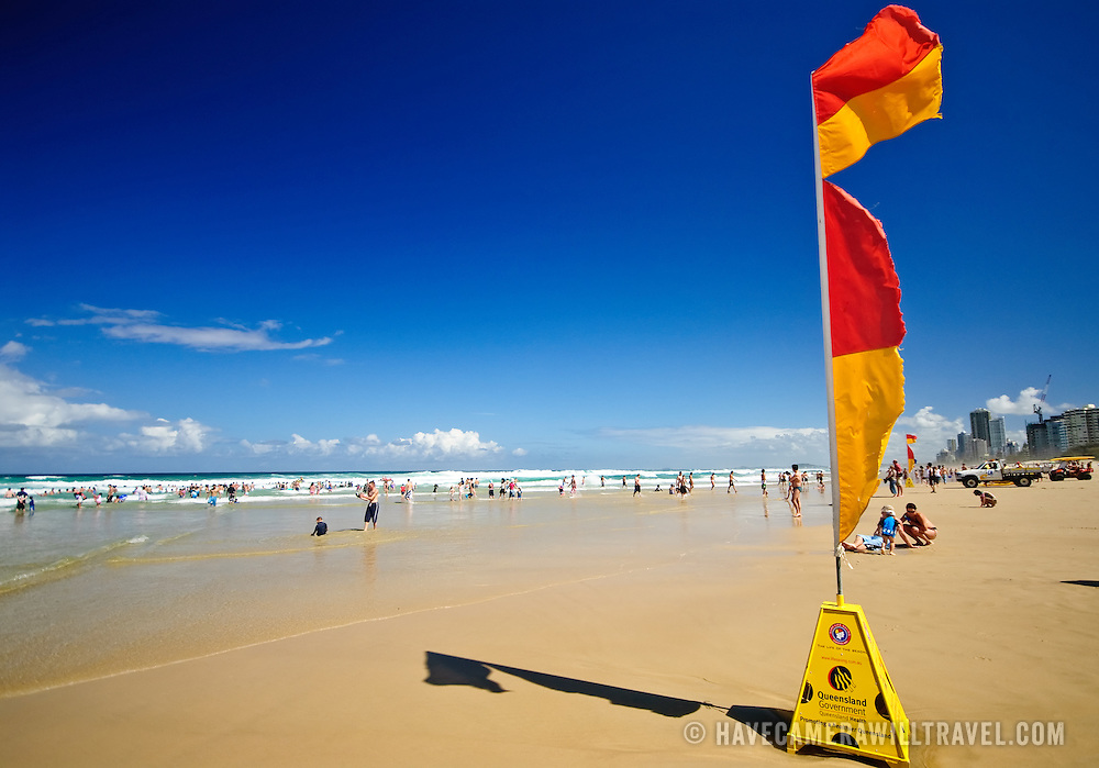 Surf Lifesavers' flags at the beach at Surfers' Paradise