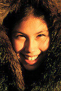 This photograph of a beautiful Inupiat girl was made at midnight in Kotzebue, Alaska. Land of the midnight sun.