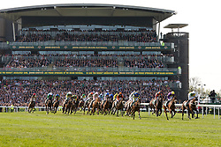LIVERPOOL, ENGLAND - Saturday, April 9, 2011: Ballabriggs ridden by Jason Maguire leads the field after the first full circuit of The Grand National, Grand National Day, Day 3 of the 2011 Grand National meeting at Aintree Racecourse. (Photo by David Tickle/Propaganda)