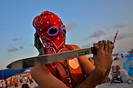 "Participant at ""Mid Burn"", the Israeli ""Burning Man Festival"" held at ""Habonim"" beach north of Israel October 4-6, 2012."