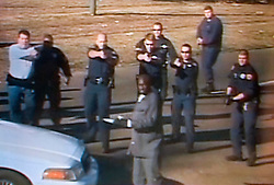 Dec 26th, 2005. Video grab courtesy New Orleans Channel 4 TV. Video showing knife wielding Anthony Hayes, (38 yrs knife in hand) confronted by New Orleans police officers before he was gunned down on St Charles Avenue.