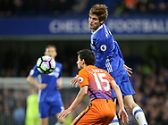 Chelsea's Marcos Alonso in action during the Premier League match at the Stamford Bridge Stadium, London. Picture date: April 5th, 2017. Pic credit should read: David Klein/Sportimage