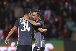 October 22, 2017 - Porto, Aves, Portugal - Benfica's Brazilian forward Jonas (R) celebrates after scoring goal with teammate Benfica's Portuguese defender Andre Almeida (L) during the Premier League 2017/18 match between CD Aves and SL Benfica, at Estadio do Clube Desportivo das Aves in Aves on October 22, 2017. (Credit Image: © Dpi/NurPhoto via ZUMA Press)