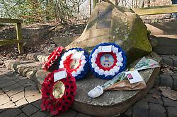 Memorial to USAAF Crewmen of Mi Amigo<br /> <br /> First Lieutenant John Glennon Krieghauser, pilot.<br /> <br /> Second Lieutenant Lyle J Curtis, co-pilot<br /> <br /> Second Lieutenant John W Humphrey, navigator<br /> <br /> Second Lieutenant Melchor Hernandez, bombardier<br /> <br /> Staff Sergeant Robert E Mayfield, radio operator<br /> <br /> Staff Sergeant Harry W Estabrooks, engineer/top turret gunner<br /> <br /> Sergeant Charles H Tuttle, ball-turret gunner<br /> <br /> Sergeant Maurice O Robbins, tail gunner<br /> <br /> Sergeant Vito R Ambrosio, right waist gunner<br /> <br /> Muster Sergeant George U Williams, left waist gunner<br /> Endcliffe Park Sheffield<br /> <br /> www.pauldaviddrabble.co.uk<br /> 19th February 2012 <br /> Image © Paul David Drabble