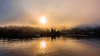 Fog banks, Sitka Sound, Alaska USA.