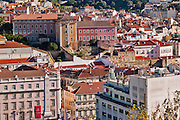 Lisbon, November 2012. General view of Lisbon downtown, Restauradores district viewed from Bairro Alto district