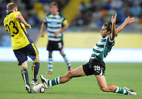 20100819: LISBON, PORTUGAL - Sporting Lisbon vs Brondby: UEFA Europa League 2010/2011 Play-Offs - First Leg. In picture: Andre Santos (Sporting) and Michael Krohn-Dehli (Brondby). PHOTO: Alexandre Pona/CITYFILES