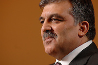 03 APR 2007, BERLIN/GERMANY:<br /> Abdullah Guel, Aussenminister der Tuerkei, waehrend einem Interview, Hotel Ritz-Charlton<br /> IMAGE: 20070403-01-006<br /> KEYWORDS: Abdullah Gül, Türkei