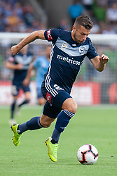 January 26, 2019 - Melbourne, VIC, U.S. - MELBOURNE, AUSTRALIA - JANUARY 26: Melbourne Victory forward Kosta Barbarouses (9) runs with the ball downfield at the Hyundai A-League Round 16 soccer match between Melbourne Victory and Sydney FC on January 26, 2019, at AAMI Park in VIC, Australia. (Photo by Speed Media/Icon Sportswire) (Credit Image: © Speed Media/Icon SMI via ZUMA Press)