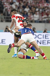 September 20, 2019, Tokyo, Japan: Japan's Kotaro Matsushima is tackled by Russia's Vladimir Ostroushko and Andrey Ostrikov during the Rugby World Cup 2019 Pool A match between Japan and Russia at Tokyo Stadium. Japan defeats Russia 30-10. (Credit Image: © Rodrigo Reyes Marin/ZUMA Wire)