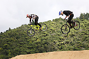 Martin Soderstom, Uppsala Sweden on the right racing in the finals of the Mons Royal Dual Speed and Style event, Crankworx Rotorua 26.03.2015