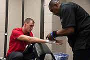 DALLAS, TX - MAY 13:  James Vick has his hands wrapped before fighting Polo Reyes during UFC 211 at the American Airlines Center on May 13, 2017 in Dallas, Texas. (Photo by Cooper Neill/Zuffa LLC/Zuffa LLC via Getty Images) *** Local Caption *** James Vick