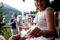 Summer at Anderson Lake, White cabin, includes paddleboarding, good dinners, visits with friends and relaxing on the dock. Rose wine from BC is the perfect celebration.