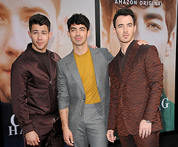 Kevin Jonas, Joe Jonas and Nick Jonas at the premiere of Amazon Prime Video's 'Chasing Happiness' held at the Regency Bruin Theatre in Westwood, USA on June 3, 2019.