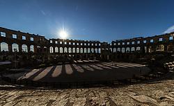 THEMENBILD - das Amphitheater Pula im gegenlicht, aufgenommen am 27. Juni 2018 in Pula, Kroatien // the Pula Arena, Pula in the back light, Croatia on 2018/06/27. EXPA Pictures © 2018, PhotoCredit: EXPA/ JFK