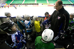 Dany Gelinas and kids at first practice of Slovenian National Ice hockey team before World championship of Division I - group B in Ljubljana, on April 5, 2010, in Hala Tivoli, Ljubljana, Slovenia.  (Photo by Vid Ponikvar / Sportida)