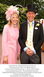 VISCOUNT & VISCOUNTESS DAVENTRY at Royal Ascot on 19th June 2003.PKR 97