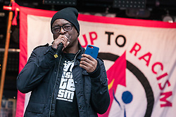 London, UK. 16th March, 2019. Paul Canoville, Chelsea's first black footballer, addresses thousands of people on the March Against Racism demonstration on UN Anti-Racism Day against a background of increasing far-right activism around the world and a terror attack yesterday on two mosques in New Zealand by a far-right extremist which left 49 people dead and another 48 injured.