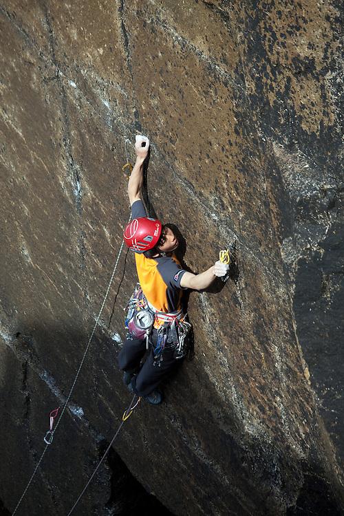 Toru Nakajima climbing 'Tears Of A Clown' E7 6c on-sight at Sennen, Cornwall, England