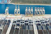 Nederland, Zuid-Holland, Rotterdam, 28-09-2014; Tweede Maasvlakte, MV2.<br /> Bouw containerterminal Rotterdam World Gateway (RWG) met Super-Post Panamax containerkranen.<br /> Construction container Rotterdam World Gateway (RWG) with Super-Post Panamax container cranes.<br /> luchtfoto (toeslag op standard tarieven);<br /> aerial photo (additional fee required);<br /> copyright foto/photo Siebe Swart