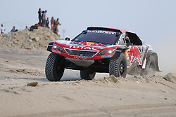 January 8, 2018 - Pisco, Peru - Cyril Despres of France and co-driver David Castera of France compete during the 2018 Dakar Rally Race Stage 2 in Pisco, Peru. Cyril Despres and David Castera took the first place of Car race of the stage 2 with 2:56:51. (Credit Image: © Li Ming/Xinhua via ZUMA Wire)