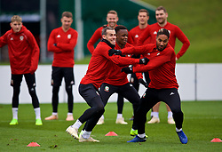 CARDIFF, WALES - Monday, November 19, 2018: Wales' L-R Gareth Bale, Rabbi Matondo and captain Ashley Williams during a training session at the Vale Resort ahead of the International Friendly match between Albania and Wales. (Pic by David Rawcliffe/Propaganda)