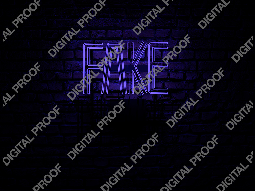 Fake News Neon Sign blue color fake on news off over a red brick wall at dark - Illustration Computer Rendered - Illustration