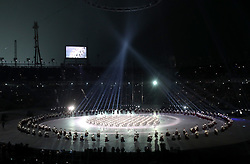 Drummers in the centre of the stadium during the Opening Ceremony of the PyeongChang 2018 Winter Olympic Games at the PyeongChang Olympic Stadium in South Korea.
