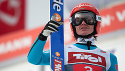 04.01.2015, Bergisel Schanze, Innsbruck, AUT, FIS Ski Sprung Weltcup, AUT, FIS Ski Sprung Weltcup, Finale, 1. Wertungssprung, im Bild 04.01.2015, Bergisel Schanze, Innsbruck, AUT, FIS Ski Sprung Weltcup, // Richard Freitag of Germany reacts after his first competition Jump for the 63rd Four Hills Tournament of FIS Ski Jumping World Cup at the Bergisel Schanze in Innsbruck, Austria on 2015/01/04. EXPA Pictures © 2015, PhotoCredit: EXPA/Jakob Gruber