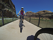 SHOT 5/9/16 11:18:19 AM - GoPro footage and stills of the Mag 7 trail, Fisher Towers and the bike trail along Highway 128 in Moab. Moab is a city in Grand County, in eastern Utah, in the western United States. Moab attracts a large number of tourists every year, mostly visitors to the nearby Arches and Canyonlands National Parks. The town is a popular base for mountain bikers and motorized offload enthusiasts who ride the extensive network of trails in the area. (Photo by Marc Piscotty / © 2016)