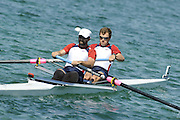 Munich, GERMANY,USA M2-, Bow, Jason READ and Bryan VOLPENHIEM, ,  during the FISA World Cup at the Munich Olympic Rowing Course, Thur's.  08.05.2008  [Mandatory Credit Peter Spurrier/ Intersport Images] Rowing Course, Olympic Regatta Rowing Course, Munich, GERMANY